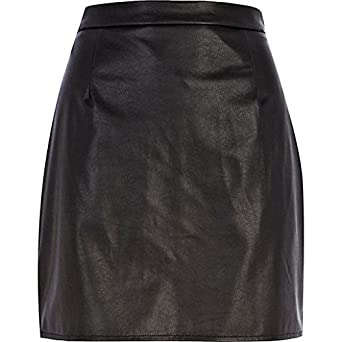 38c22110cc River Island Black leather-look A-line skirt UK 8: Amazon.co.uk: Clothing