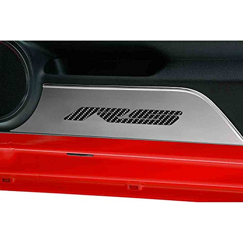 Upgrade Your Auto Stainless Door Panel Kick Plates w/Garnet Red Vinyl 'RS' Inlay for 10-15 Camaro -