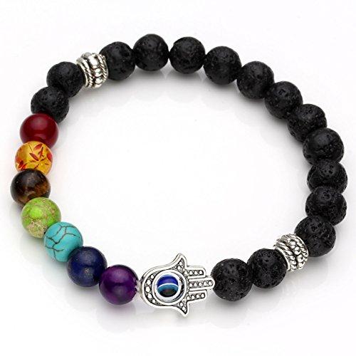 JOVIVI 7 Chakras Gemstone Bracelet Lava Stone Reiki Healing Balancing Round Beads - Hamsa hand