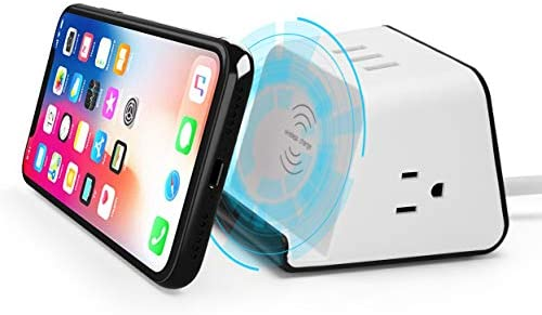 BTU Wireless Charger Qi Certified Wireless Charger with 3 USB 4.8A Charging Station, 2 AC Outlet Adapter and 5Ft Power Cord Compatible iPhone 11 XR XS Max XS X, Samsung Galaxy S9 S9 S8 S8 S7