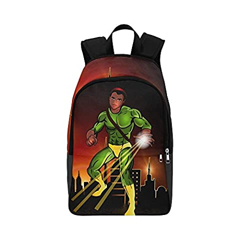 Backpack with Black Boy On it- African American Boy Book-bag Large High School - Swag Holder Finish