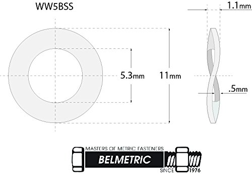(150pcs) M5, 5mm Wave Stainless Steel Washer - DIN 137B, 11mm Large Outer Diameter Shiny by BelMetric WW5BSS by BelMetric (Image #2)