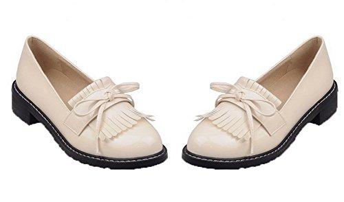 VogueZone009 Women's Heels Beige PU Low Pumps On Solid Shoes Toe Round Pull r1Brnwqx