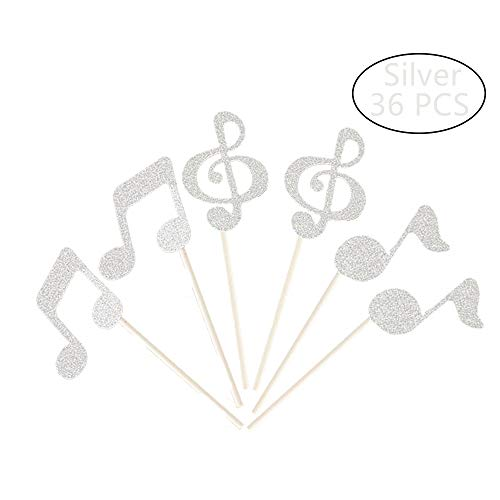 Tim&Lin Glitter Silver Music Note Party Cupcake Toppers Decorations, Party Dessert Toppers Decorations - Party Decoration Supplies, Great for Wedding, Birthday, or Any Parties Events, Pack of 36 ()