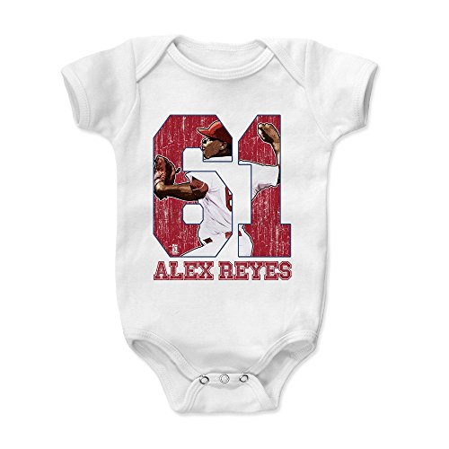 500 LEVEL Alex Reyes Baby Clothes, Onesie, Creeper, Bodysuit 6-12 Months White - St. Louis Baseball Baby Clothes - Alex Reyes Game ()