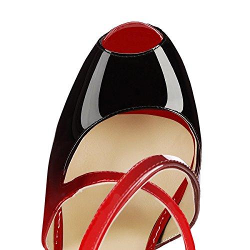 onlymaker Women's Ankle Strap Peep Toe Extreme High Heel Pumps Wedding Party Dress Stiletto Slip On Sandals 3-Black and red 3atZagkJ