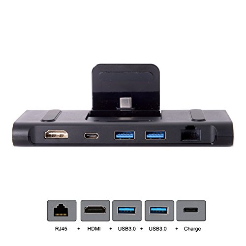 CY USB 3.1 Type-C USB-C Dock Station to HDMI & Two 3.0 Hub & Gigabit Ethernet & Power Multiple Digital AV Type-C for Samsung S8/S8+,Note8,S9 and Huanwei Mate10/Mate10 Pro/P20 by CHENYANG
