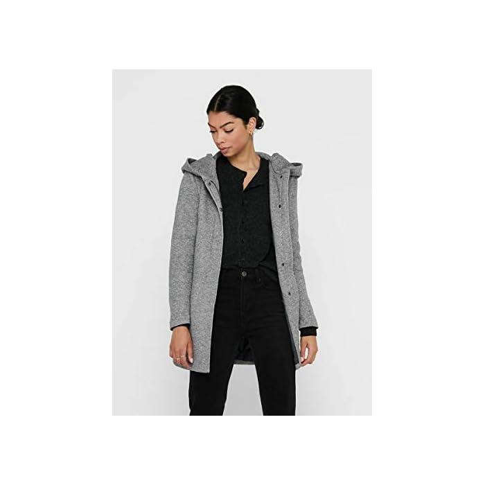 41E0sjCoFlL Abrigo de lana con capucha. Abrigo largo de entretiempo. 85% Poliéster, 15% Algodón