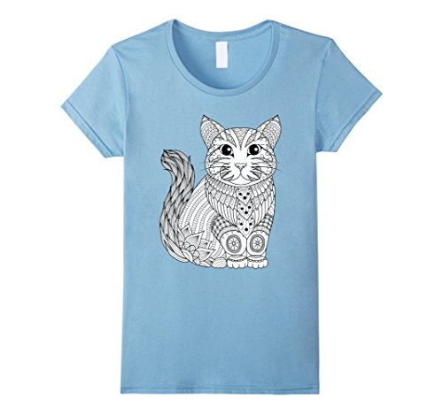 Women's Kitty Cat - Color Your Own Colorific Tees Design - White Small Baby Blue