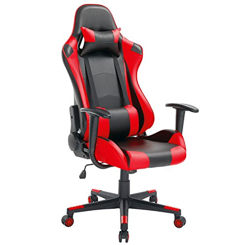 Price comparison product image High-Back Swivel Gaming Chair Black & Red With Lumbar Support & Headrest / Racing Style Ergonomic Office Desk Chair by Modern-depo