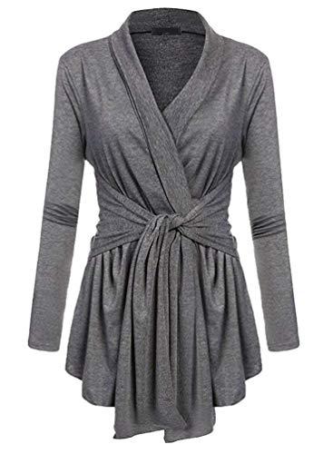 Outerwear Femme Vintage Festives Dsinvolte Coat Printemps Automne Uni Manche Classique Manteau Manches Longues V-Cou Irregular Nou Slim Fit Blouson Fille Grau