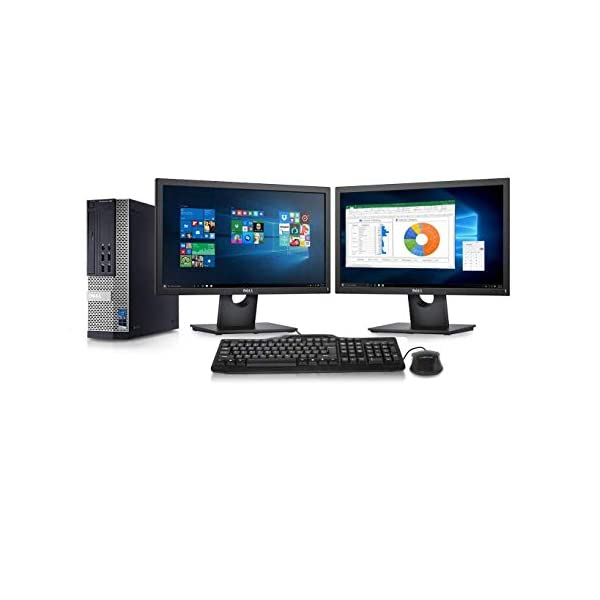 Dell Optiplex 9010 Desktop Computer- Intel Core i7 3.4GHz, 16GB DDR3, New 1TB HDD, Windows 10 Pro 64-Bit, WiFi, DVDRW + 2 New Dell Full HD 24 inch LED Monitor (Renewed)