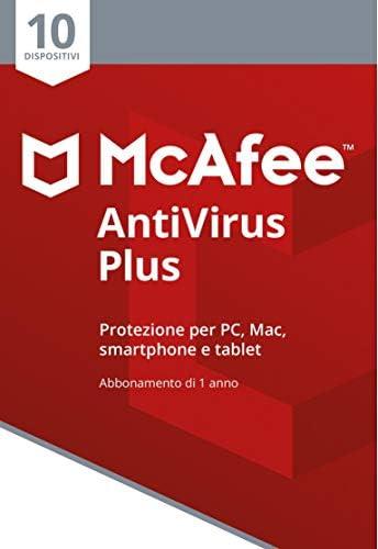 McAfee Antivirus Plus 10 Dispositivi   Abbonamento di 1 anno   PC/Mac/Smartphone/Tablet   Codice di attivazione via mail