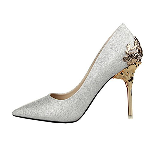 Shoe Pointed Lady's Color pump toe Silver p0fUwqPx