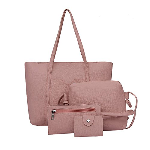 Birdfly Women 4pcs Set Handbag Shoulder Bags Four Pieces Tote Bag Crossbody Wallet Cheap Clearance (Pink)