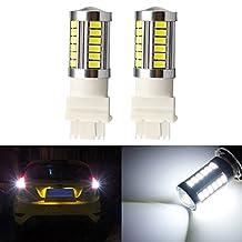 KATUR 2pcs 3156 3456 5630 33-SMD White 900 Lumens 8000K Super Bright LED Turn Tail Brake Stop Signal Light Lamp Bulb 12V 3.6W