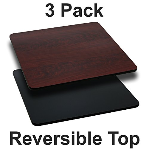 Flash Furniture 3 Pk. 24 Square Table Top with Black or Mahogany Reversible Laminate Top