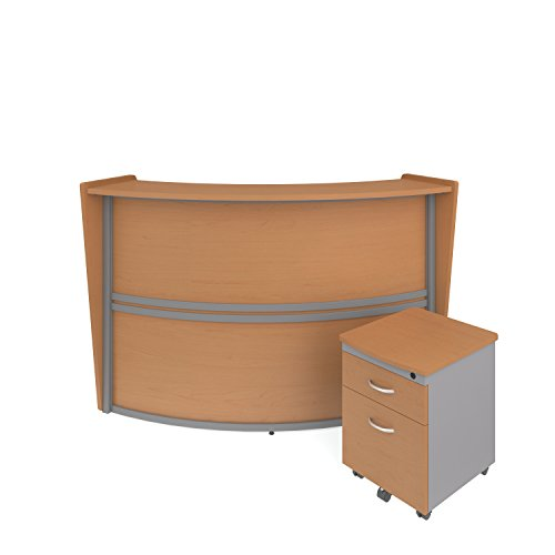 OFM Marque Series Single-Unit Curved Reception Station Package - Office Furniture Reception/Secretary Desk with Maple Pedestal (PKG-55290-MPL)