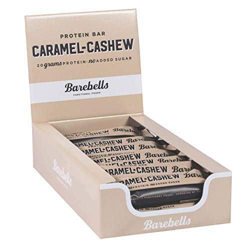 Barebells Protein Bar Caramel Cashew 12 x 55g High Protein Low Carb Low Sugar 20g of Protein in Every 55g Bar Delicious Indulgent Protein Bars for Muscle Performance & Recovery