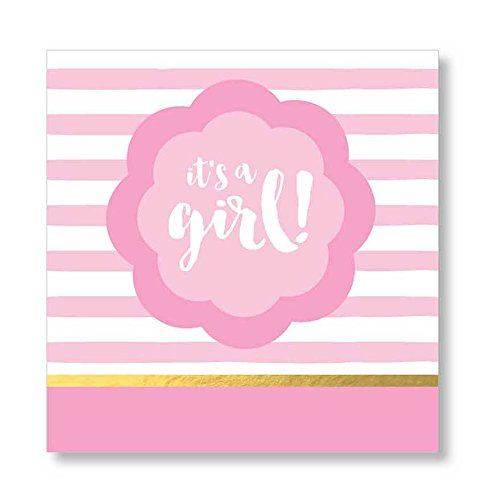 C.R. Gibson Beverage Napkins, It's a Girl, 20 Count