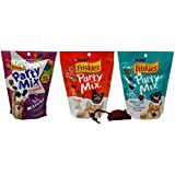 Friskies Party Mix Crunch Treats for Cats 3 Flavor Variety Bundle with Catnip Toy, (1) Each: Kahuna, Original, Meow Luau (6 Ounces)
