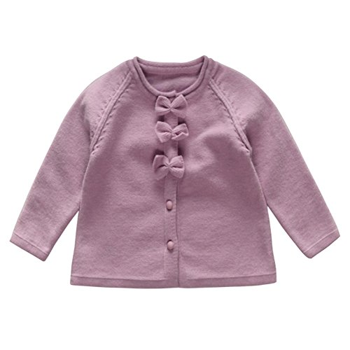 Coodebear Little Baby Girls' Cashmere Bows Cardigan Sweater Purple Size 18M