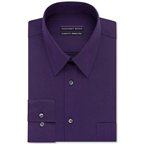 Geoffrey Beene Mens Big & Tall Pinstriped Wrinkle Free Dress Shirt Purple