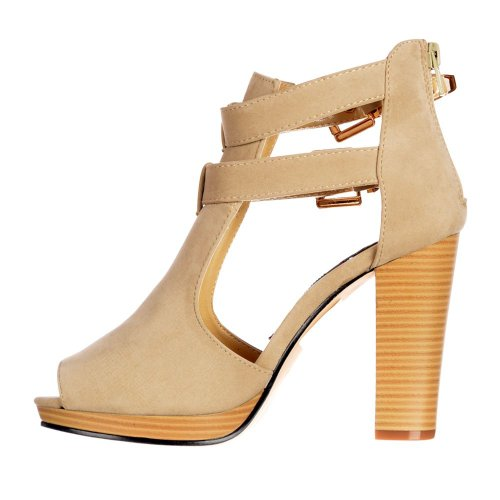 Black Women's Pink Heeled Peep Onlineshoe Buckles Nude Cut Toe Ankle Shoes Out Boots White beige Suede Nude pwxRvqT