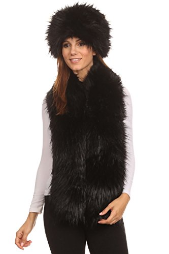 Womens Faux Fur Russian Pillbox Hat , Soft Stole Scarf Wrap (Black) (Fur Dress Hat)