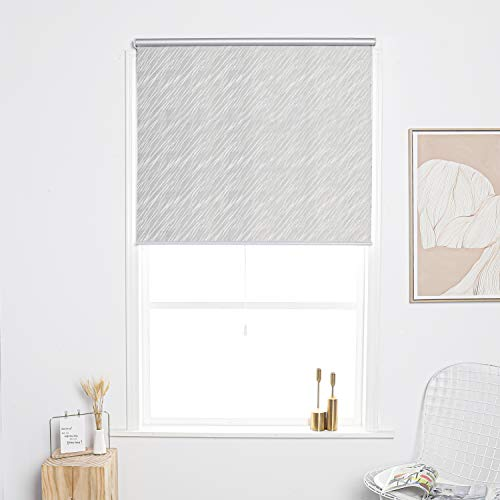 Taiyuhomes Cordless Spring Roller Blind Blackout Vision Curtains for Window and Door with Aluminium Cassette(White,23.5×64 Inch)
