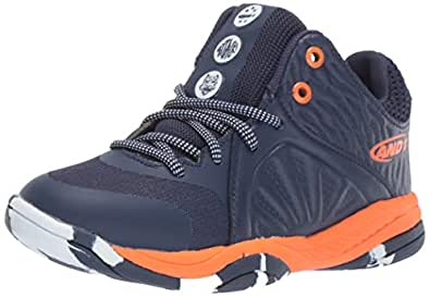 AND 1 Boys' Attack Mid Sneaker medieval blue/golden poppy/marble M US Little Kid