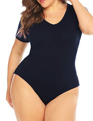 IN'VOLAND Women Bodysuit Plus Size Short Sleeve/Sleeveless Bodysuits Scoop/V Neck Leotards Basic Top Sexy Bodycon