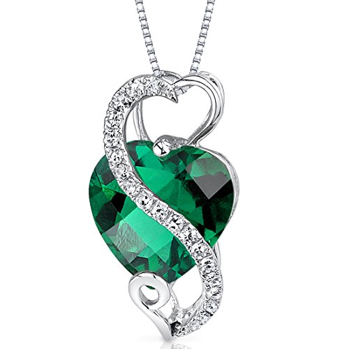 14 Karat White Gold Heart Shape 2.5 carats Created Emerald Diamond Pendant Diamond Platinum Jewelry Box
