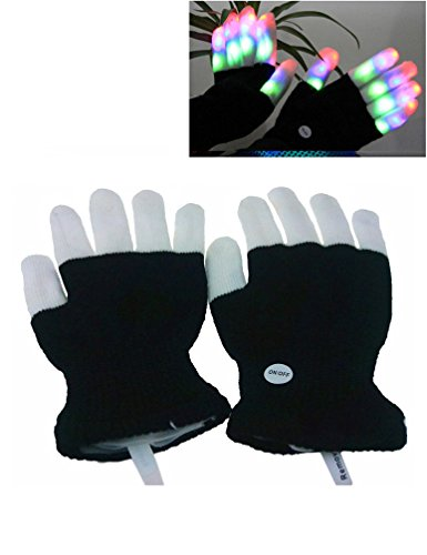 Luwint LED Colorful Flashing Finger Lighting Gloves - Ballroom Costume Fabric