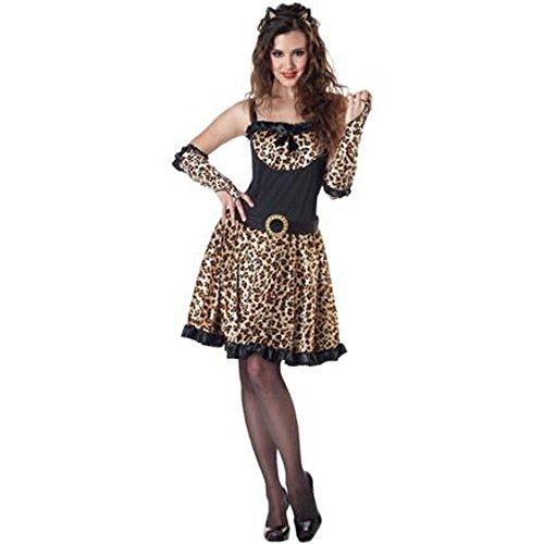 Leopard Kitty Costume Adult L 12-14 Halloween Dress Animal Print Fur Cheetah ()