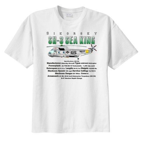 WarbirdShirts Men's Sikorsky SH-3 Sea King Short Sleeve T-Shirt Adult (Sea King Aircraft)