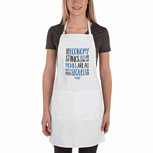 4 bthfiron Adjustable Bib Apron - New Girl Economy Stinks Fashion Apron with Two Pockets for Kitchen Cooking Restaurant Dishwashing BBQ for Women