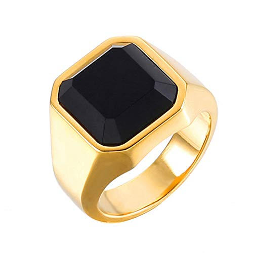 (Yfnfxl Men's Stainless Steel Signet Ring Square Enamel Vintage Rings for Men Black Gold Sizes 8-12 (Gold,)
