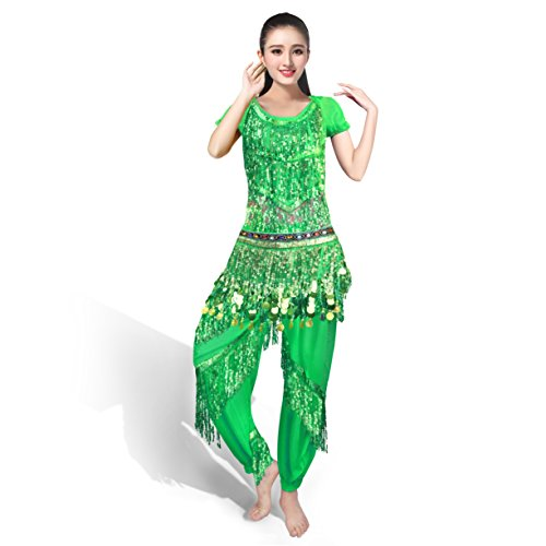 Green Top costume Pantalon Ceinture danse longue SymbolLife Halter Belly de Bra professionnelle RwSAFp