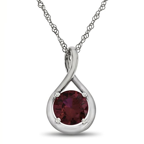 Finejewelers 7mm Round Created Ruby Twist Pendant Necklace Chain Included 10 kt White Gold ()