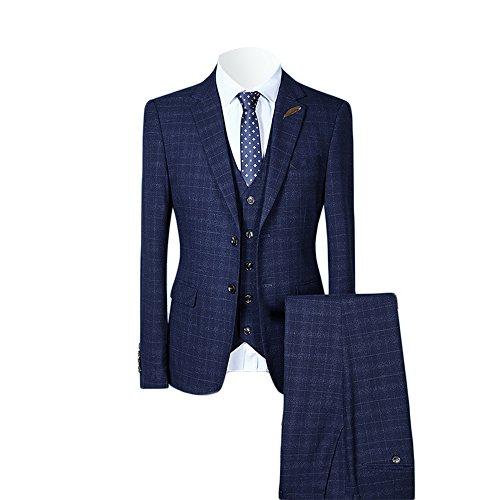 MAGE MALE Men's Plaid 3 Piece Suit Elegant Two Buckle Slim Single Breasted Blazer Vest Pants Set ()