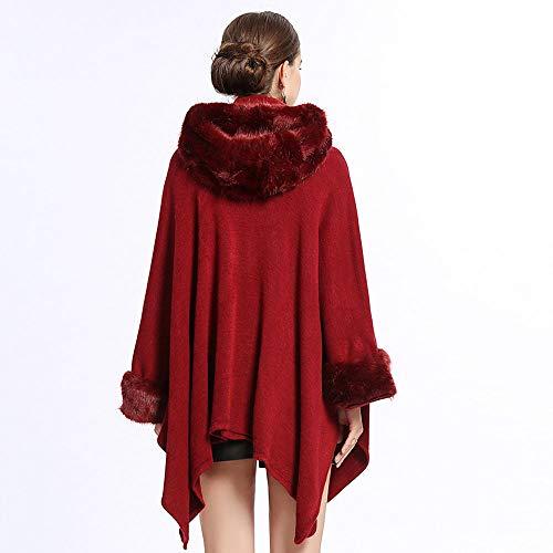 dressvip dressvip Donna Mantello Pelliccia Inverno di Mantello Rosso di Pelliccia Cappotto di R41WRrnqz