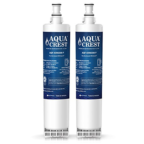 AQUACREST 4396508 NSF 53&42 Refrigerator Water Filter Replacement for Whirlpool 4396508 4396510 EDR5RXD1, EveryDrop Filter 5, Kenmore 46-9010, PUR W10186668, NLC240V (Pack of 2) by AQUA CREST