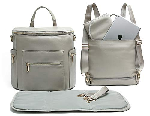 Leather Diaper Bag Backpack by Miss Fong, Diaper Backpack with Changing Pad,Wipes Pouch,Diaper Bag Organizer,Stroller Straps and Insulated Pockets (2019 New Grey-New Convertible)