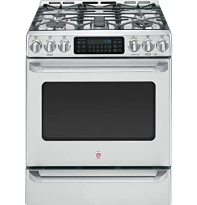 "GE C2S985SETSS Cafe 30"" Stainless Steel Dual Fuel Sealed Burner Range - Convection"