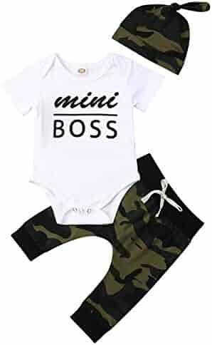 1fee3db26 Tomppy Toddler Baby Boy Kids Short Sleeve Letter Print Bodysuit Romper +Camouflage  Pants+Headbands
