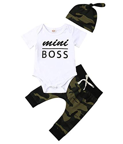 Outique Toddler Outfit Baby Short Sleeve Mini boss Letter Print Romper+Camouflage Pants+Headbands Set