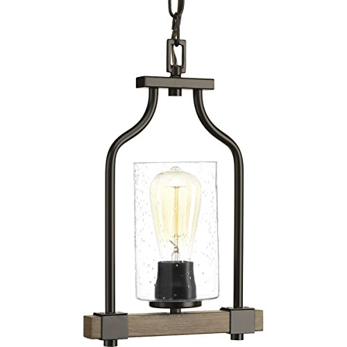 - Progress Lighting P500056-020 Barnes Mill Antique Bronze One-Light Mini-Pendant,