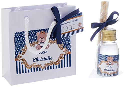 30 Kit Aromatizador + Sacola Urso Azul Marinho Lembrancinha de Maternidade Chá de Bebe, inova Baby, Azul Marinho, 7 cm, pacote de 30