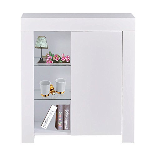 Moon_Daughter High Gloss 3 Shelf Sideboard Cabinet Cupboard with Blue LED Light Dining Room White 29.52x13.77x32.67 inch